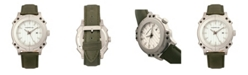 Morphic M68 Series, Silver Case, Olive Leather Band Watch w/Date, 44mm