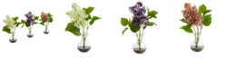 Nearly Natural Lilac Artificial Arrangement in Vase, Set of 3