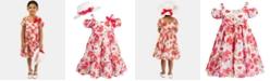Bonnie Jean Toddler Girls 2-Pc. Clip-Dot Floral-Print Dress & Hat Set
