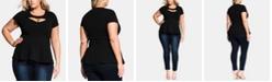 City Chic Trendy Plus Size Peekaboo Sweetheart Top