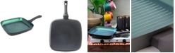 """Equinox 11"""" Grill Pan, Square Ceramic Nonstick in Matte Charcoal with Bakelite Soft Touch Handle Made from Forged Aluminum"""