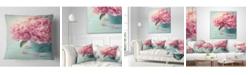 "Design Art Designart 'Pink Peony Flowers In Vase' Floral Throw Pillow - 16"" x 16"""