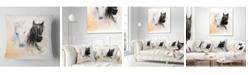 "Design Art Designart 'Black and White Horse Heads' Animal Throw Pillow - 16"" x 16"""