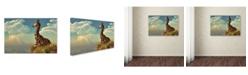 "Trademark Global Daniel Eskridge 'Giraffe And Distant Mountain' Canvas Art - 19"" x 12"" x 2"""