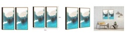"""Chic Home Decor Ocean Waves 2 Piece Framed Canvas Wall Art Abstract -30"""" x 31"""""""