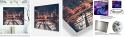 "Design Art Designart 'Dark Chicago Skyline And Railroad' Cityscape Metal Wall Art - 20"" X 12"""