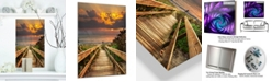 "Design Art Designart 'Long Wooden Stairs Into The Sea' Bridge Metal Wall Art - 12"" X 20"""