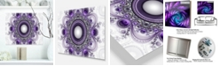 "Design Art Designart 'Purple Fractal Pattern With Circles' Abstract Metal Wall Art - 20"" X 12"""