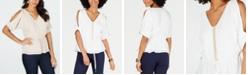 Thalia Sodi Gauze Cold-Shoulder Peplum Top, Created for Macy's