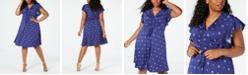 Monteau Trendy Plus Size Flutter-Sleeve Ruched-Front Dress