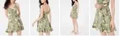 Speechless Juniors' Floral Faux-Wrap Dress