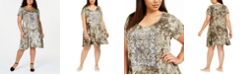 Style & Co Plus Size Tie-Dyed Graphic T-Shirt Dress, Created for Macy's