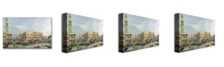 """Trademark Global Canaletto 'The Molo and the Piazzetta' Canvas Art - 24"""" x 14"""""""