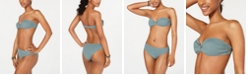 Roxy Juniors' Seas the Day Textured Bandeau Bikini Top & Seas the Day Textured Mid-Waist Bikini Bottoms