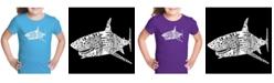 LA Pop Art Girl's Word Art T-Shirt - Species of Shark