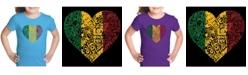 LA Pop Art Girl's Word Art T-Shirt - One Love Heart