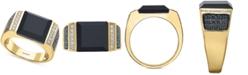 EFFY Collection EFFY® Men's Black Agate & Diamond (5/8 ct. t.w.) Ring in 14k Gold