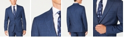 DKNY Men's Modern-Fit Stretch Blue/Red Plaid Suit Separate Jacket