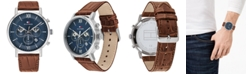 Tommy Hilfiger Men's Brown Leather Strap Watch 44mm, Created For Macy's