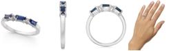 Macy's Sapphire (1/2 ct. t.w.) Baguette & Diamond (1/20 ct. t.w.) Ring in 14k White Gold