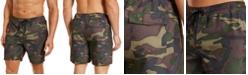 "Club Room Men's Classic-Fit Camo-Print 7"" Twill Swim Trunks, Created for Macy's"