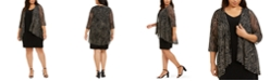 Connected Plus Size Printed Mesh Jacket & A-Line Dress