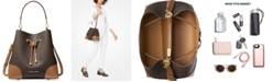 Michael Kors Signature Mercer Gallery Convertible Bucket Leather Shoulder Bag