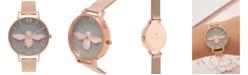 Olivia Burton Women's 3D Bee Rose Gold-Tone Stainless Steel Mesh Bracelet Watch 38mm