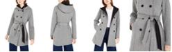 BCX Juniors' Tweed Fleece Hooded Trench Coat