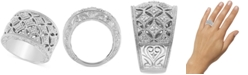 Macy's Diamond Openwork Statement Ring (1/5 ct. t.w.) in Sterling Silver