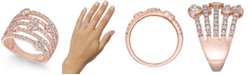 Macy's Diamond Bezel Multi-Row Statement Ring (1-1/2 ct. t.w.) in 14k Rose Gold