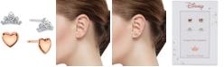 Disney 2-Pc. Set Cubic Zirconia Heart & Tiara Stud Earrings in Silver-Tone & Rose Gold-Tone