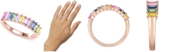 Macy's Lab-Created Multi-Sapphire Baguette Ring (1-5/8 ct. t.w.) in 14k Rose Gold-Plated Sterling Silver