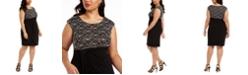 Connected Plus Size Lace-Top Sheath Dress
