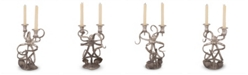 Vagabond House Two Taper Pewter Metal Octopus Candelabrum Candlestick Tall Centerpiece