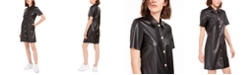 Bar III Faux-Leather Shirtdress, Created For Macy's