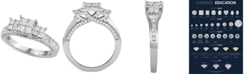 Macy's Diamond Princess Quad Cluster Engagement Ring (1-1/2 ct. t.w.) in 14k White Gold
