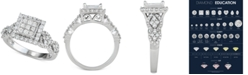 Macy's Diamond Princess Cluster Engagement Ring (1-1/6 ct. t.w.) in 14k White Gold