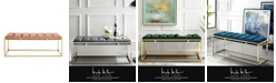 Nicole Miller Mitchell Velvet Tufted Bench with Metal Frame