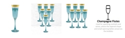Lorren Home Trends Blue Flutes with Gold Band - Set of 6