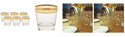 Lorren Home Trends Double Old Fashion Melania Collection Amber - Set of 6