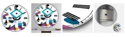"Designart Blue Diamond Arrangement Large Mid-Century Wall Clock - 36"" x 28"" x 1"""