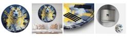 "Designart Tiger Spirit in Blue and Gold Oversized Fashion Wall Clock - 23"" x 23"" x 1"""