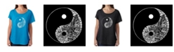 LA Pop Art Women's Dolman Cut Word Art Shirt - Yin Yang