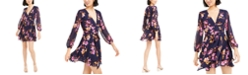 Bar III Printed Blouson-Sleeve Dress, Created For Macy's