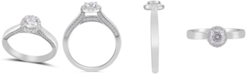 Macy's Diamond Round Halo Engagement Ring (3/4 ct. t.w.) in 14k White Gold