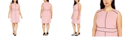 Nine West Plus Size Contrast-Piped Jewel-Neck Sheath Dress