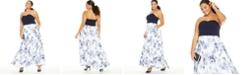 Speechless Trendy Plus Size Strapless Scuba & Toile Gown
