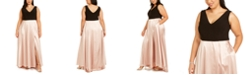 Betsy & Adam Plus Size Tulip-Skirt Gown