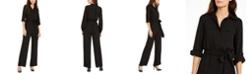 Michael Kors Roll-Sleeve Safari Jumpsuit